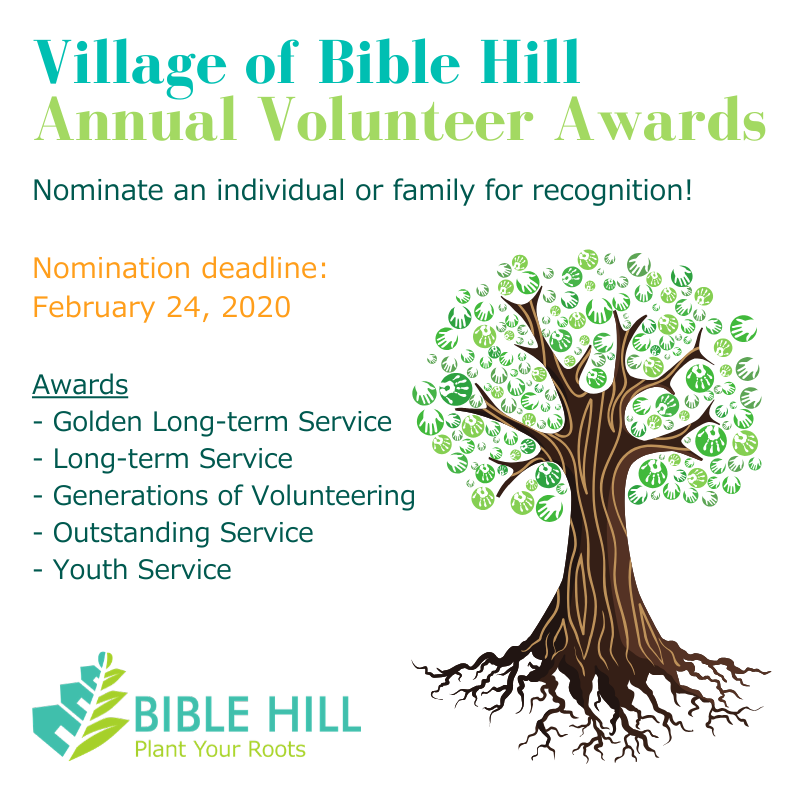 Village of Bible Hill Annual Volunteer Awards. Nomination deadline: February 24, 2020. Awards: GOlden Long Term Service, Long Term Service, Generationd of Volunteering, Outstanding Service and Youth Service. Colorful green hand print leaf tree.