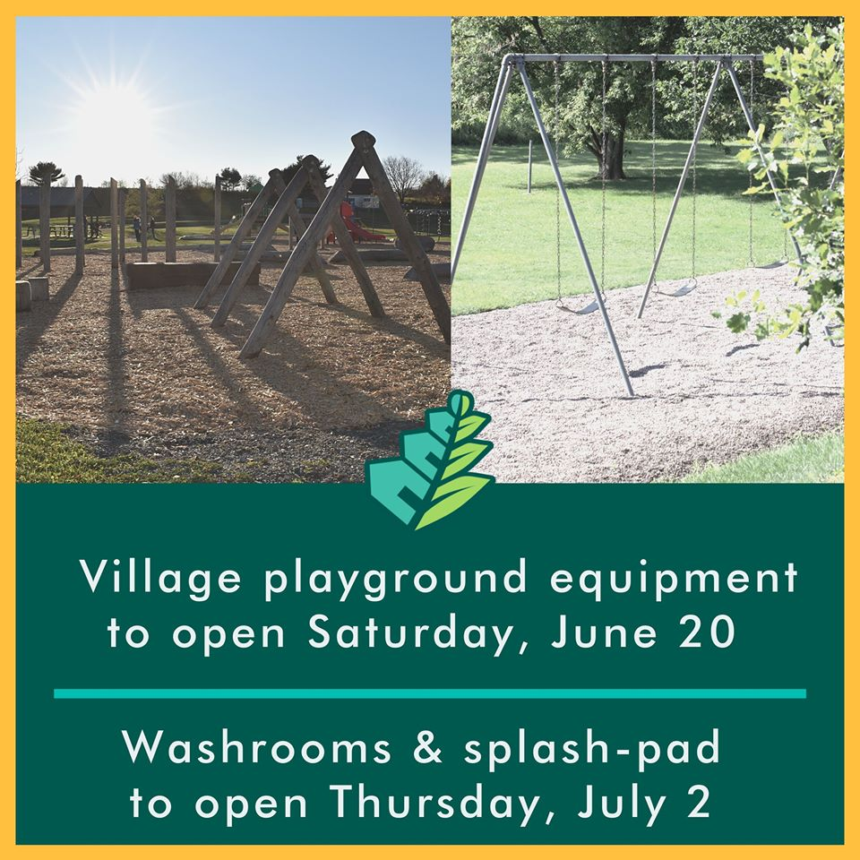 Village playgrounds now open, washrooms and splash-pad opening July 2